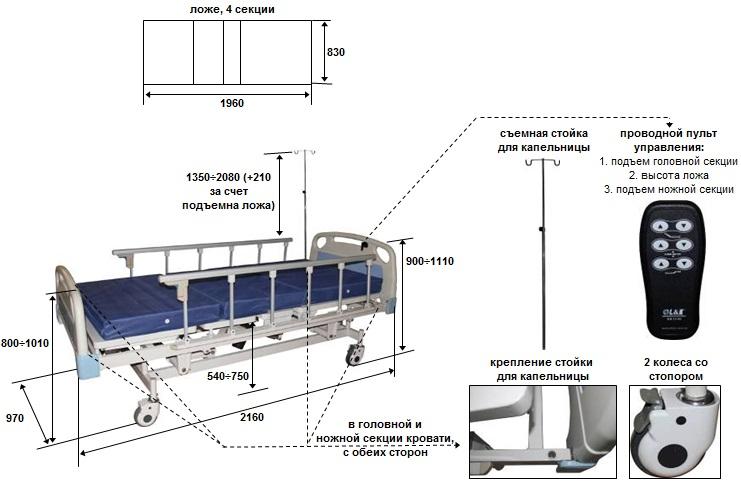 Кровать для лежачих больных чертежи